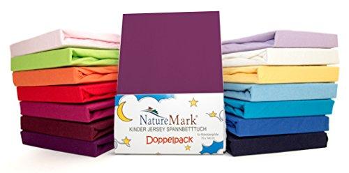 2er Sparpack Kinder Spannbettlaken Jersey 100% Baumwolle für Kinderbettmatratzen ÖKO Tex Geprüft- Gr. 70 x 140 cm, Lila / Pflaume