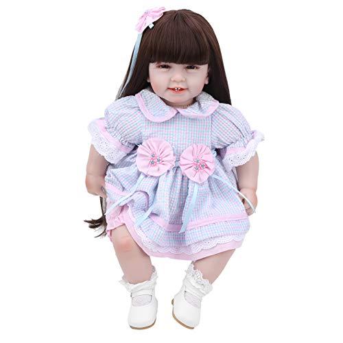 Zwindy Dlexible Babypuppe, Puppe mit Langen Haaren, zum Üben ungiftiger sicherer Geschenkkinder
