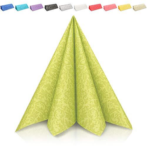 GRUBly Servietten GRÜN | Tissue-Servietten [50 Stück] | Grüne Servietten, Tischdekoration, ideal für Ostern, Geburtstag, Hochzeit & Grillparty | 3-lagige Premium Qualität | 40x40cm | 1/4 Falz