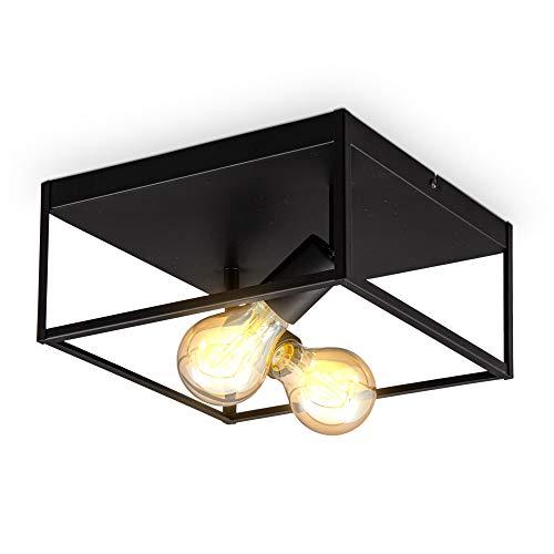 B.K.Licht I 2-flammige Käfig-Deckenleuchte I E27 Fassung I Metall I Schwarz- Matt I Cage I Deckenlampe
