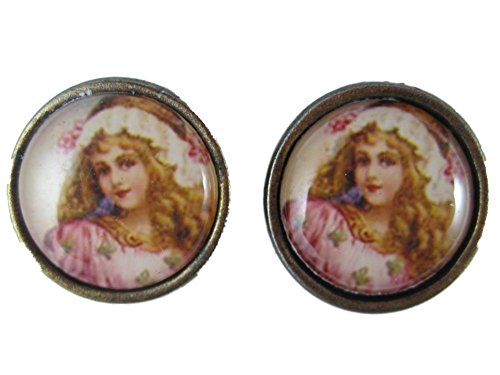 Ausgefallene Ohrringe Ohrstecker Stecker Cabochon Edelstahl Vintage Engel / Fee mit Kleid / Hut rosa *2345*