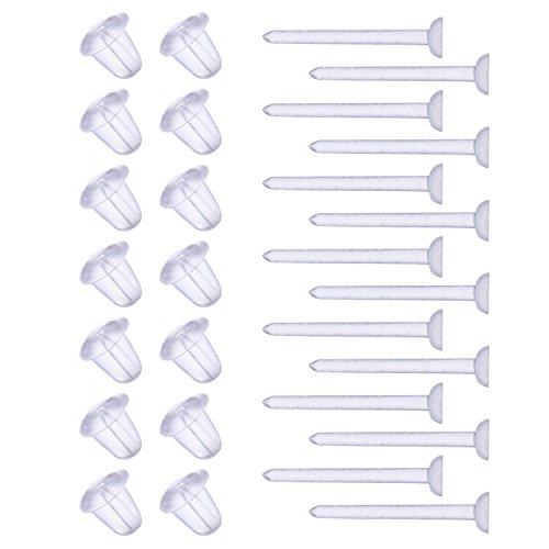 Shappy 1000 Paar Kunststoff Ohrring Posts Klar Ohrstifte und Silikon Gummi Rücken Earnuts Ohrring Rücken für Männer Damen