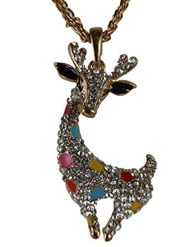 Halskette Kette Straß Stein goldfarben Giraffe beweglich Zoo Comic 1531