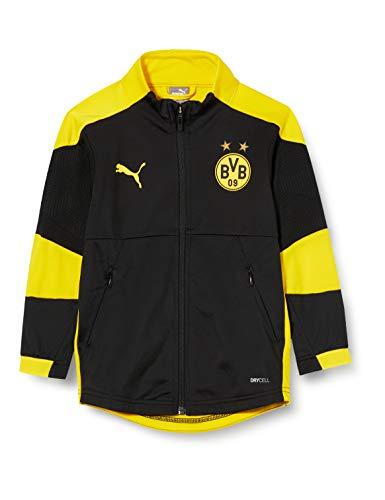 PUMA Uni Trainingsjacke BVB Jacket Jr, Puma Black-Cyber Yellow, 140, 757709