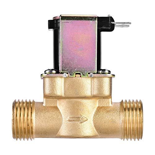 PUSOKEI Válvula de latón para Agua, válvula magnética solenoide eléctrica Normalmente Cerrada de 1/2'CC 24 V para Control de Agua, válvula reguladora de presión anticorrosión sin Consumo de energía