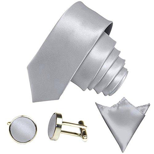 GASSANI 3-SET Krawattenset, 6Cm Schmale Hell-Graue Herren-Krawatte Dünn Manschettenknöpfe Ein-Stecktuch, Bräutigam Hochzeitskrawatte Glänzend