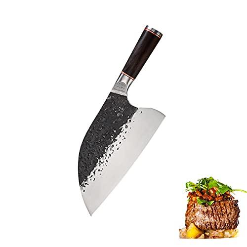 Cuchillo de tajado Cuchillo chino High Carbon Acero de carbono Hecho a mano Cuchillo de carnicería Cuchillo de cocina de cocina con mango de madera de ébano (Color : A)