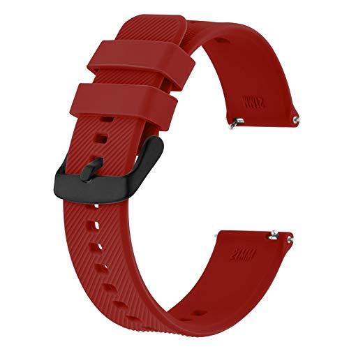 BISONSTRAP Correa de Reloj 18mm, Correas de Silicona de Liberación Rápida para Hombres y Mujeres (Vino Rojo)