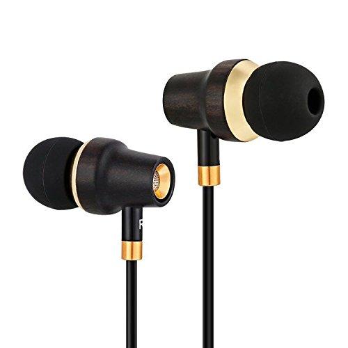 In Ear Kopfhörer In-Ear Stereo Ohrhörer - Premium Ohrhörer mit edlem Holz, Mikrofon - Geräuschisolierende Ohrstöpsel für Zuhause und unterwegs, perfekt beim Musikhören oder Sport - Nachtschwarz
