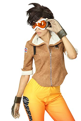 Women's OW Tracer Lena Oxton Cosplay Halloween Game Costume Full Battle Suit Jacket/Gloves/Pants (M) Brown