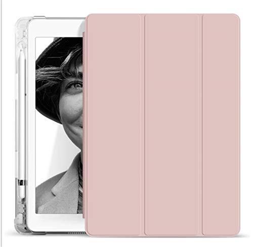QiuKui Tab Cover With Pencil Holder Case For iPad 5th 6th 9.7 7th 10.2'10.5 MINI 5 Pro 11 12.9 inch Case 2020 tpu Silicone Smart Cover Wake Funda (Color : Rose gold, Size : 2020 pro 11)