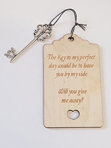 Birch Luggage Tag Will you give me away with Key - Laser cut wooden shape