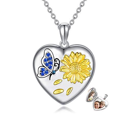 Collar con medallón de corazón, con 2 imágenes de girasol, mariposa, forma de corazón, medallón para foto, regalo conmemorativo para niñas y mujeres.