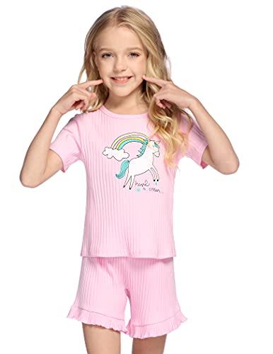 Bricnat Schlafanzug Mädchen Kurz 116 122 Einhorn Regenbogen Kurzarm Kinder Pyjama Zweiteilig Unicorn Baumwolle Nachtwäsche Weich Zweiteiler Frühling Sommer Rosa 120