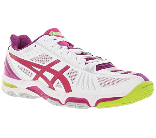 Asics Gel Voley Elite 2 Zapatos Acolchados Zapatos de Voleibol para Mujeres Blanco/púrpura, tamaño:37