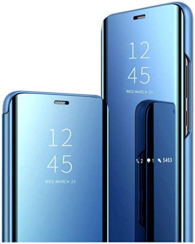 Happy 1st Funda Compatible con Xiaomi Redmi 6 / 6A, Carcasa Espejo Mirror Flip Caso Clear View Standing Cover Mirror PC + PU Case Protectora Cubierta para Xiaomi Redmi 6 / 6A Smartphone, Azul