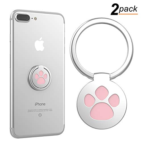 Cell Phone Ring Holder, 360° Rotation Cute Dog Cat Paw Ring Stand Finger Grip Mount Kickstand for iPhone X 8 7 7Plus 6s, Galaxy S7 S8 and More Smartphones (Pack of 2, Pink)