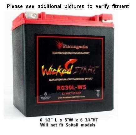 Renegade RG30L-WS 12 Volt 30 AH Ultra Premium Wicked Start 600+ CCA Harley Touring Battery