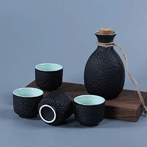 KCCCC Copa de Sake Tradicional Porcelana Negro Shochu Vajilla Sake Sistema Incluye Sake Pot y 4 Copas del Motivo a Juego Copas de Vino de artesanía (Color : Black, Size : Free Size)