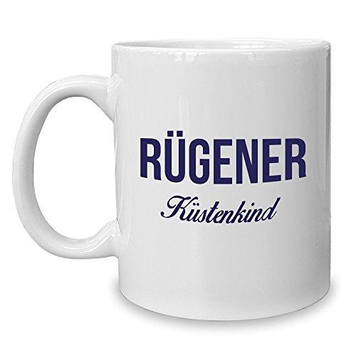 Shirt Department - Kaffeebecher - Tasse - Rügener Küstenkind Weiss-dunkelblau