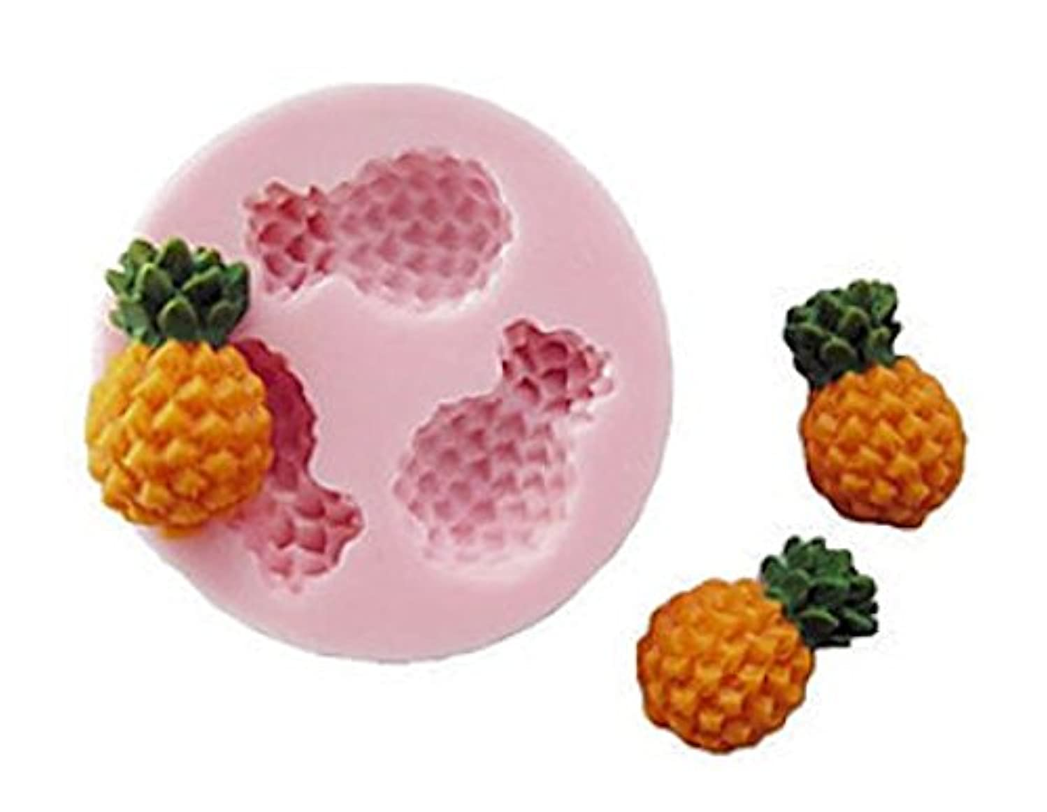 Pineapple 3 Cavity Mini Silicone Mold for Fondant, Gum Paste, Chocolate