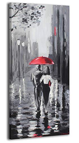 YS-Art | Acryl Gemälde Süß November | Handgemalte Leinwand Bilder | 115x50cm | Wandbild Acrylgemälde | Moderne Kunst | Leinwand | Unikat | Grau