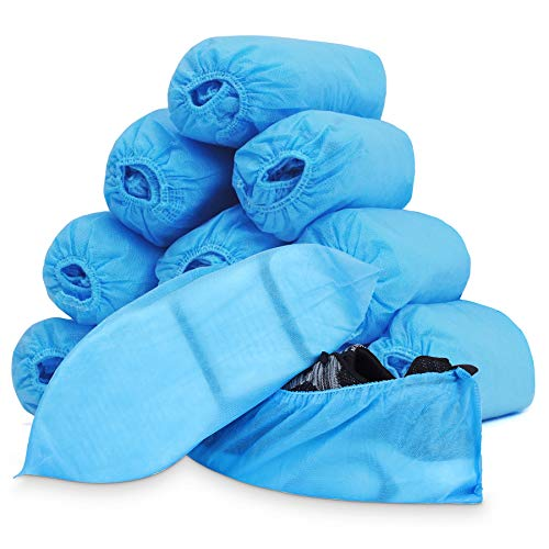 Disposable Shoe Covers - 100 Pairs Booties Covers Non Slip, Non Woven Blue Heavy Duty Shoe Foot Coverings Shoecover for Indoors Floors Construction Work Carpet House (15 x 40 cm)