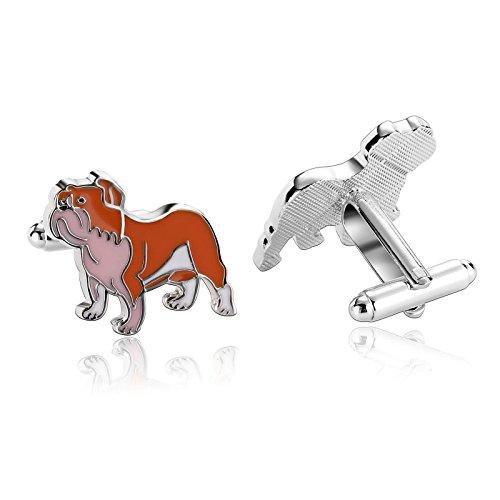 AmDxD Manschettenknöpfe für Herren Hochzeitspaar Orange Hund Hemd Manschettenknöpfe Manschettenknöpfe Edelstahl 1,7 x 1,7 cm