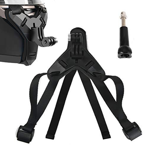 TIMESETL Montaggio casco moto, supporto mento anteriore curvo con gancio J, supporto action camera, porta mento casco moto, porta fotocamera per DJ/GoPro/telecamera sportiva