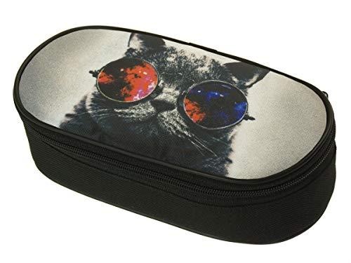 Estuche Oval Single Estuche organizador ovalado medallas caja de lápices de la escuela Gafas de sol Galaxy Cat [086]