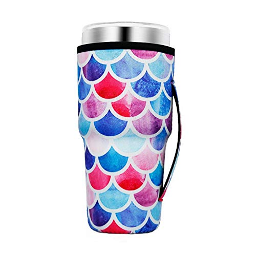 Reusable Iced Coffee Cup Sleeve Neoprene Insulated Sleeves Cup Cover Holder Idea For 30oz - 32oz Tumbler Cup,Trenta Starbucks,Large Dunkin Donuts (Only Cup sleeves) (Mermaid)