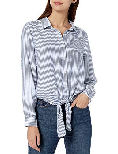 Amazon Brand - Goodthreads Women's Modal Twill Tie-Front Shirt, Blue/White Stripe, Medium
