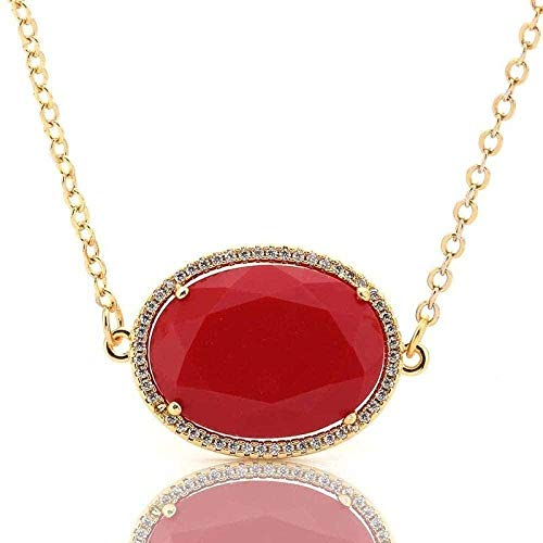 Ahuyongqing Co.,ltd Stone Pendant Necklaces for Women Red Oval Cabochon Pendant Necklace Natural Quartz Wrapped Rhinestone Golden Chain Jewelry Gift