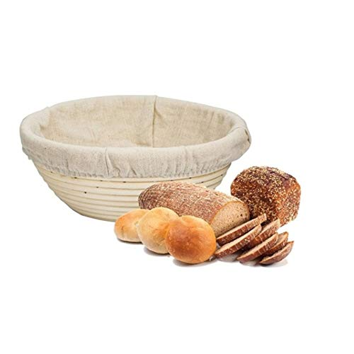 9 Inch Bread Banneton Proofing Basket with Cloth Liner Natural Rattan Bowl for Dough and Bread for Home Bakers