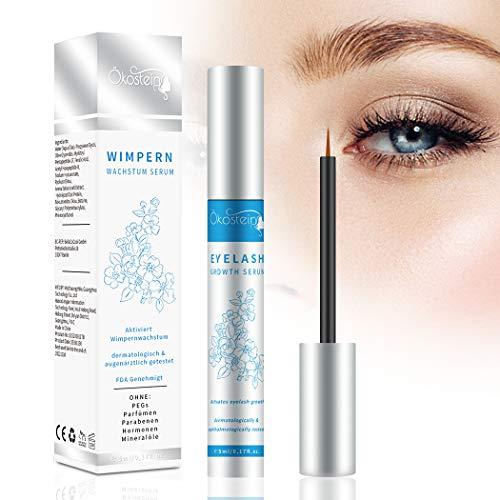 Ökostein Wimpernserum Eyelash Serum Augenbrauenserum - 5ml Verstärkte Wimpernwachstumsserum Hormonfrei für lange dichte schöne Wimpern & Augenbrauen, 100% natürlich und Sicher für alle Hauttypen