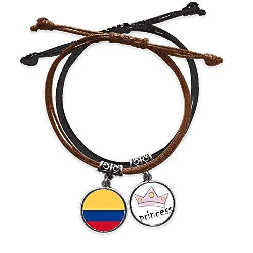 DIYthinker Colombia National Flag America del Sur país símbolo Mark Patron Pulsera Cuerda Mano Cadena Cuero Princesa Pulsera
