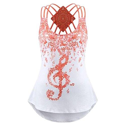 Zarupeng dames mouwloos vest, schoudervrij, tuniek jurk musical notes print verband blouse bovenstuk spaghetti strap tank tops