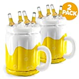18' Inflatable Cooler, Beer Cooler for Parties, Luau Party Supplies for Adults 2 Pack Summer Party Decorations, Inflatable Beer Mug for Beach Pool Parties, Inflatable bar Cooler (2 Pack)