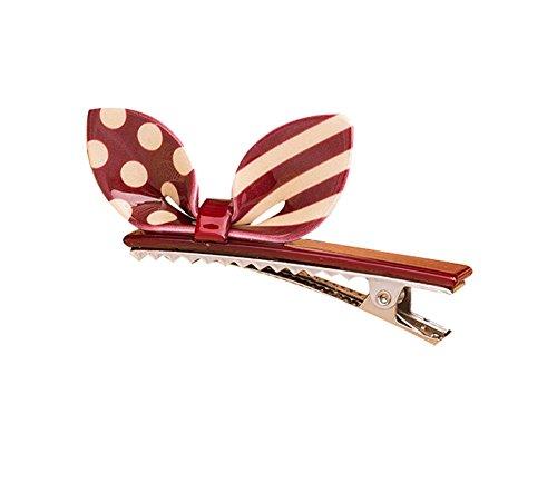 Lot de 2 Rabbit Ear Hair Pin Fashion Hair Clip/Hairpin, Blanc/Rouge