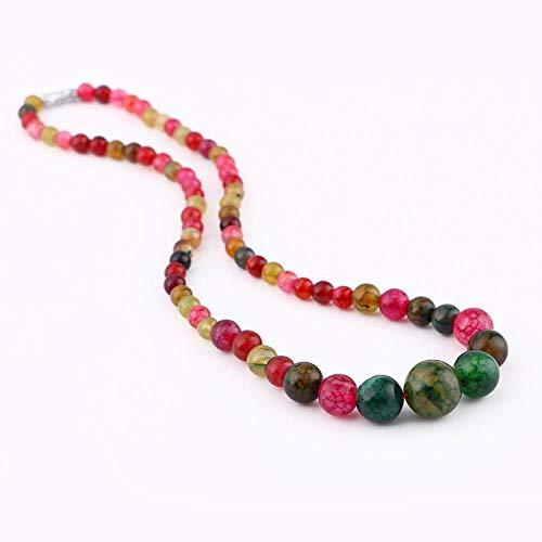 XCWXM Collares Moda Retro Señora Jade Perlas Collar Joyas Piedra Natural Mujer Vestido Exquisito Cristales Collares, Ágata arcoíris