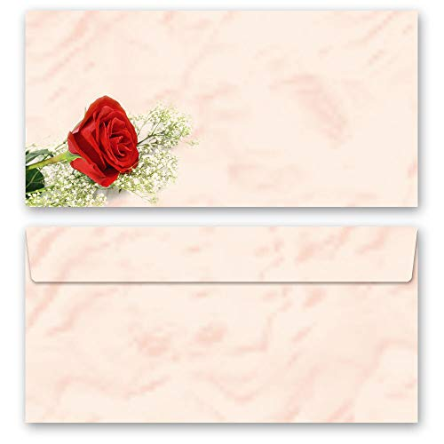 10 Briefumschläge (ohne Fenster) Blumen & Blüten, Liebe & Hochzeit, ROTE ROSE DIN LANG (220x110 mm) | Paper-Media