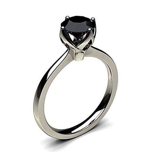 JewelsForum 1.00 Quilates Diamante Negro Anillo De Compromiso Clásico Solitario Diamante De Oro Blanco De 14 K Para Mujer
