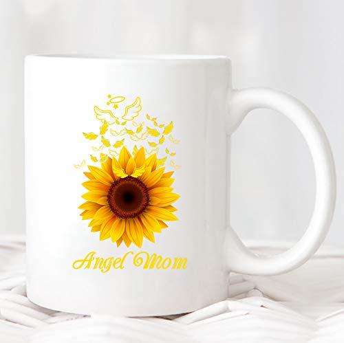Taza de ángel con diseño de ángel de girasol y alas voladoras para el día de la madre, regalo para la madre, regalo de cumpleaños