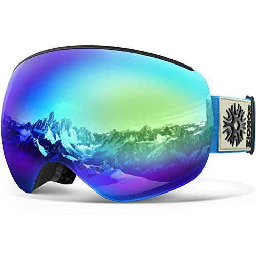 Skibrille, ZIONOR Prämie Lagopus X4 PRO Snowboardbrille Schneebrille mit Magnet Schnell Lens-Wechselsystem, Helmkompatible, Sphärische Wide View Anti-Nebel UV400 Skibrille Herren Damen Erwachsene