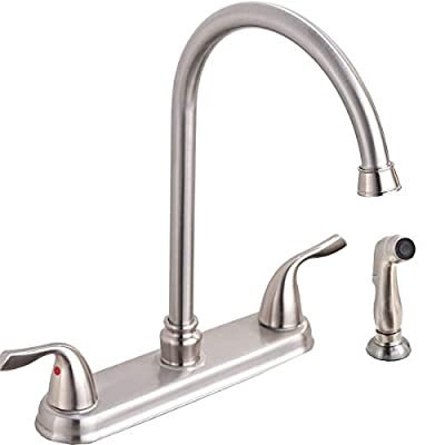 SHACO Stainless Steel Two Handle Kitchen Faucet with Sprayer,High Arch 360 Swivel Kitchen Faucet Side Sprayer SC-SLYT004L-S new13