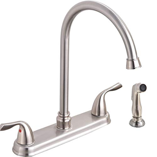 SHACO Modern Two Handle High Arc Brushed Nickel Kitchen Faucet, Stainless Steel 360 Swivel Kitchen Faucet with Side Sprayer