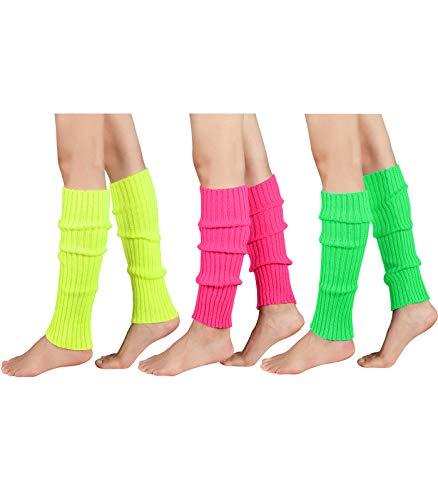 Durio Women#039s Fashion Leg Warmers 80s Ribbed Knit Leg Warmers Knee High Socks Warm Leg Warmer for Party Sports 3 PackFluoresceinGreenRose