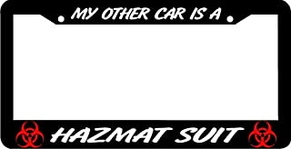 Yilooom My Other Car is A Hazmat Suit Zombie Ebola License Plate Frame Auto Car Novelty Accessories License Plate Art
