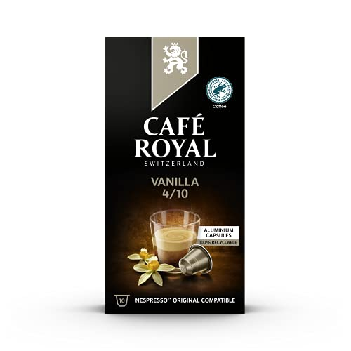 Café Royal Vanilla Flavoured Edition 100 Nespresso®* kompatible Kapseln (aus Aluminium, Intensität 4/10) 10er Pack (10 x 10 Kaffeekapseln)