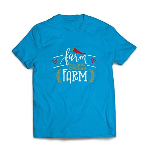 lepni.me Camisetas Hombre Granja Dulce Granja Eco Naturaleza (XX-Large Azul Multicolor)